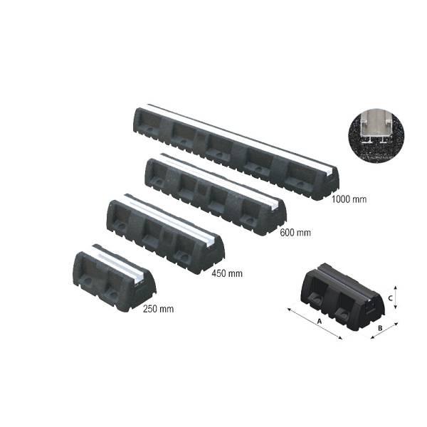 2 x Dämpfungssockel Bodenkonsole Vibrationsschutz mit C-Profil 250/450/600/1000mm
