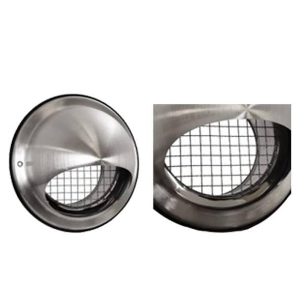 Lufthaube Edelstahl Zuluft Abluft mit Wetterschutzgitter rund NW100-250mm